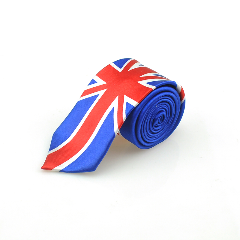 Fashion National Flag Royal & Navy Mix Tie Classical England Flag Pattern Party Neckties Skinny Slim Classic Men`s Neckties