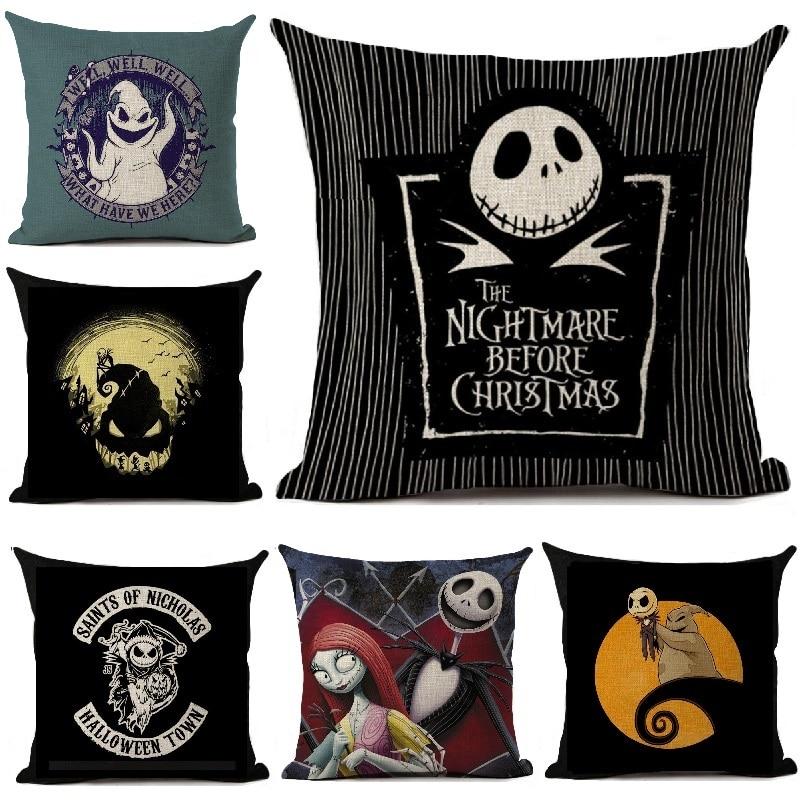 Nightmare Before Christmas Cartoon Skull Jack Printed Cushion Cover Halloween Decorative Sofa Car Throw Pillow Home Decor Pillow