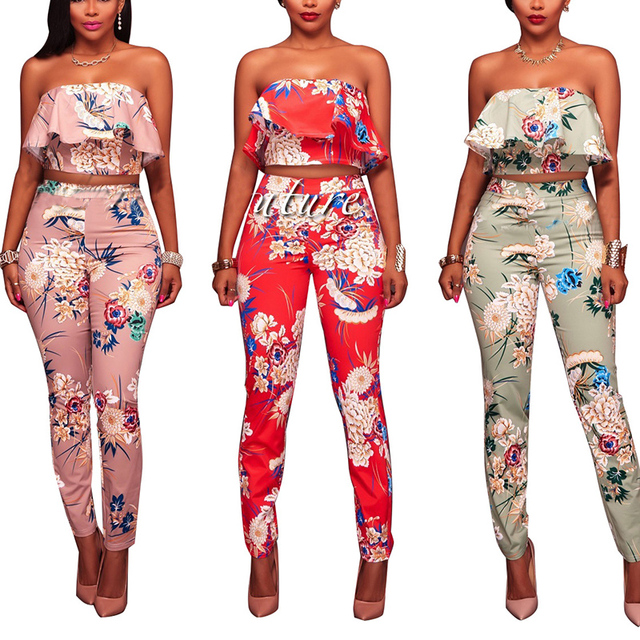 a93e9440ff9 Jumpsuit Women Long Pants Off Shoulder Sexy Floral Print Jumpsuits Two  Piece Backless Club Rompers Strapless Bodysuit Overalls