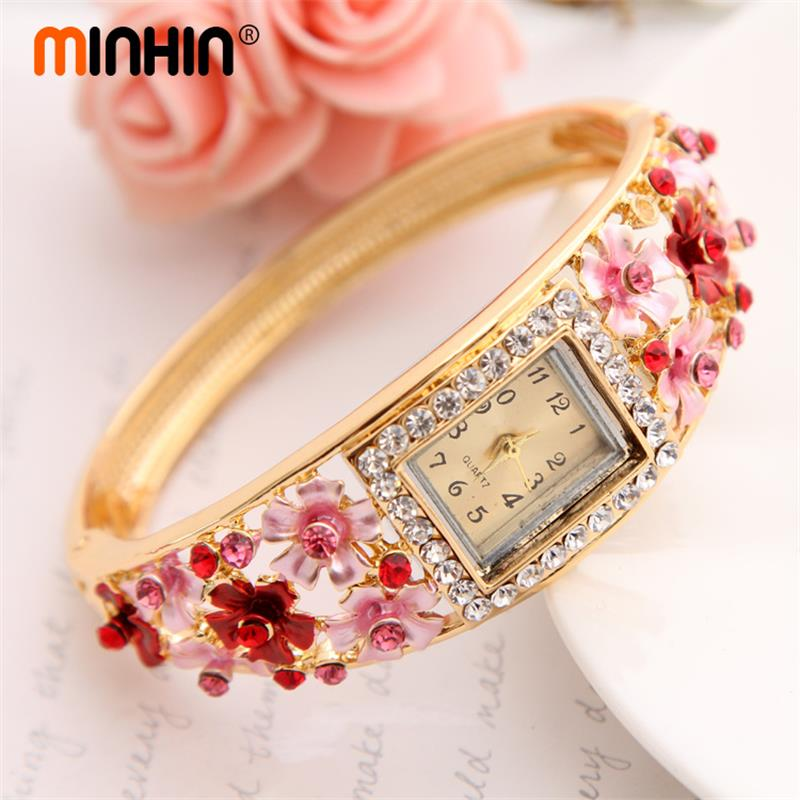 MINHIN Brilliant 5 Colors Bangle Watches For Women Gold-color Crystal Flower Design Cuff Bracelet Quartz Watch Casual Wristwatch
