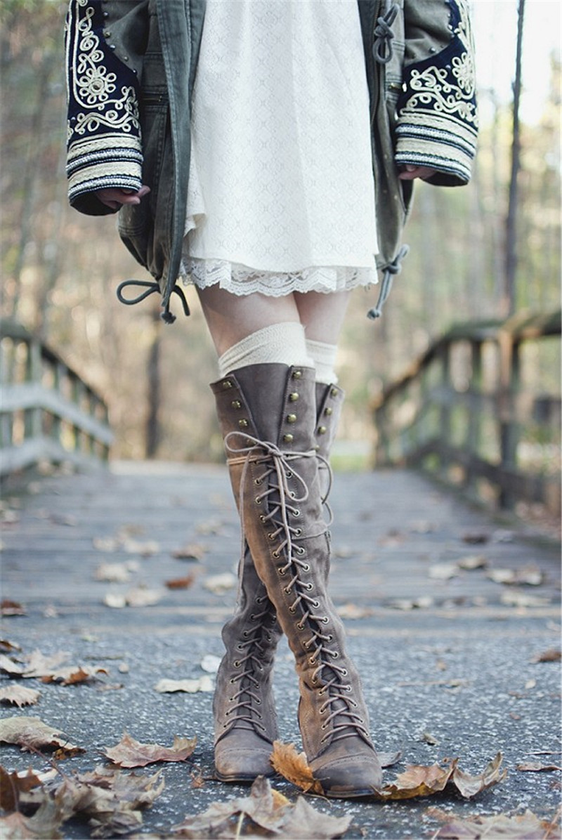 2018 Mid Heel Motorcycle Cowboy Women Boots Lace Up Knee High Boots Shoes Vintage Style Woman Winter Botas Mujer 2018 mid heel grey black leather cowboy women boots retro autumn winter boots lace up knee high boots shoes woman botas mujer