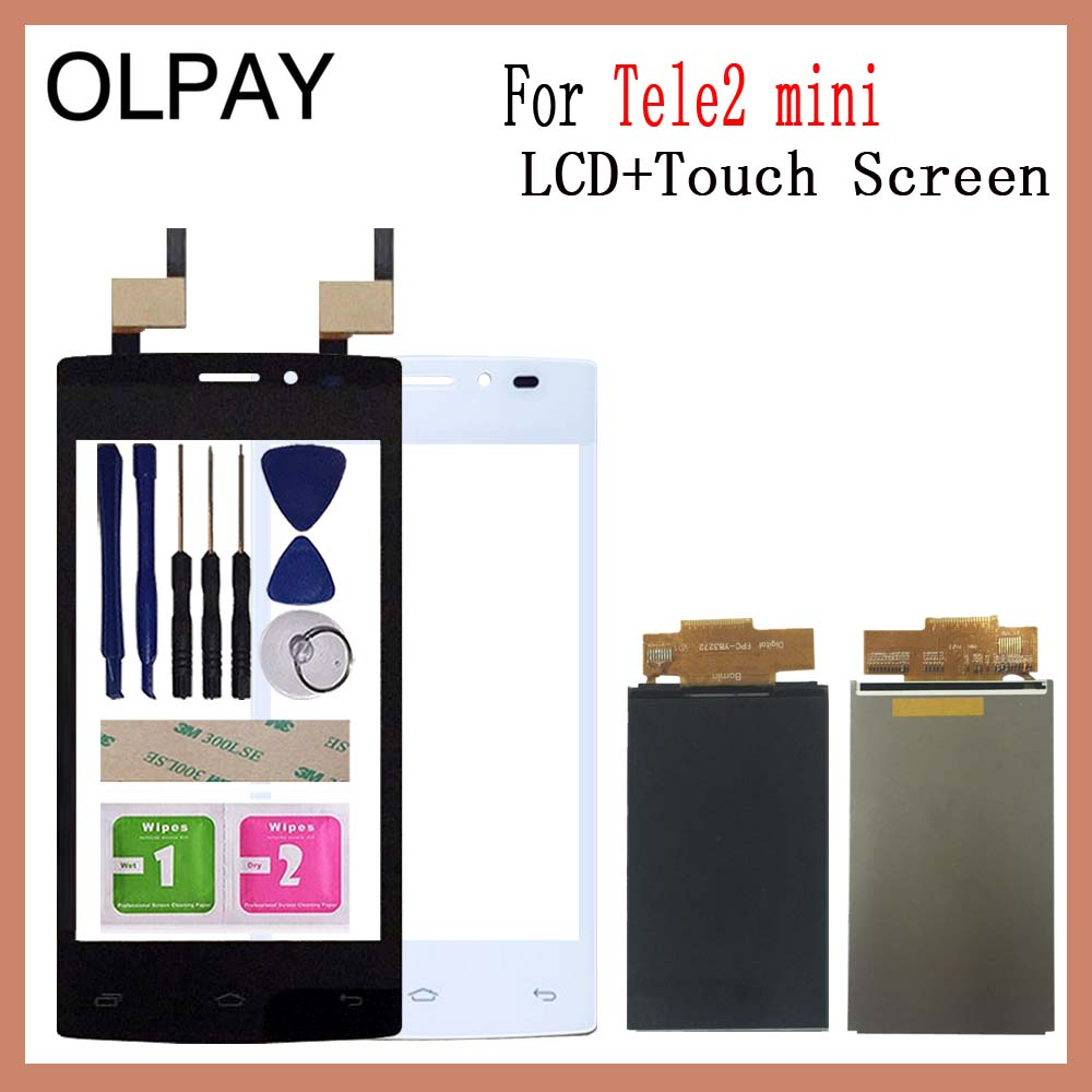 OLPAY 4.0 Inch Touch Screen LCD Display Panel Sensor For Tele2 Mini Touch Digitizer Phone Front Glass Lens Free Tools