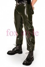latex jean trousers with pocket