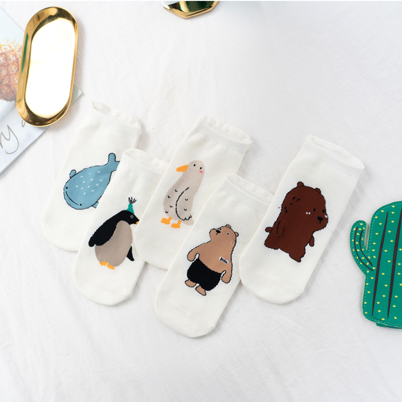 Unisex Knitting Bear Whale Penguin Men Socks Fashion Cotton Invisible Funny Socks Invisible 1 Pair Dropship Suppliers