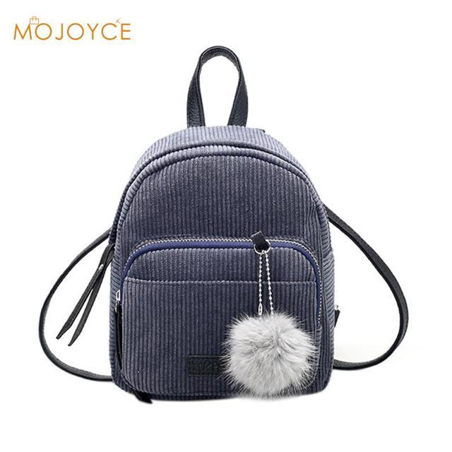 853189ebdf5b Мини женские рюкзаки однотонная модная школьная сумка для  девочек-подростков с меховым шариком однотонный вельветовый