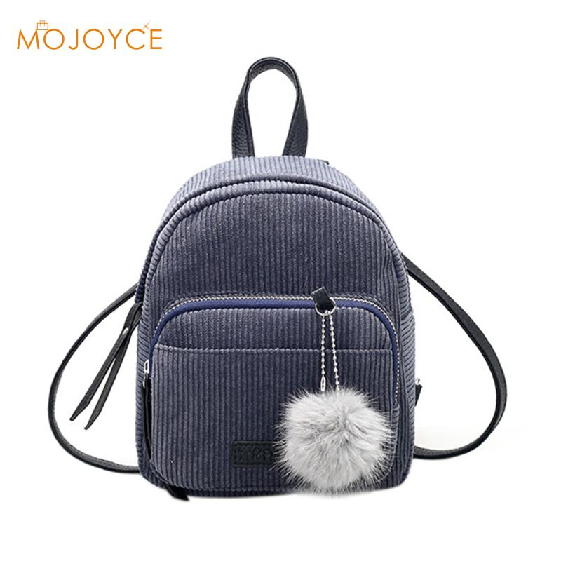 Mini Women Backpacks Solid Fashion School Bag For Teenage Girls Fur Ball Solid Corduroy Rucksack Candy Color Travel Bags Mochila
