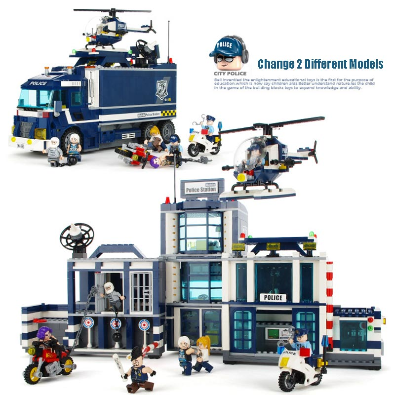 Large Size City Police Station Police Bus Model Policeman Figures Building Blocks Educational Toys For Kids Xmas Gift 12 pcs set diy figures city policeman fireman magician teacher nurse building blocks toys kids educational city set child gift