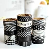 10 stks/partij Verschillende Zwart-wit Klassieke Washi Tapes Masking Tapes voor DIY Ambachten Scrapbooking Decoratieve Ambachten 1.5 cm x 10 m