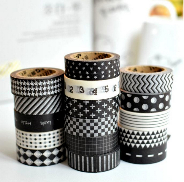 10pcs/Lot Different Black & White Classic Washi Tapes Masking Tapes for DIY Crafts Scrapbooking Decorative Crafts 1.5cm x 10m e cap aluminum 16v 22 2200uf electrolytic capacitors pack for diy project white 9 x 10 pcs
