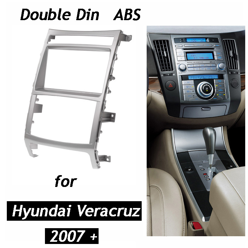 for HYUNDAI iX-55 Veracruz Double Din Car Radio Fascia Stereo Dash Kit Fit Installation Trim Facia Face Plate Panel DVD Frame 2 din car dvd frame dashboard kits front bezel radio frame adaper dvd cover dash trim kit for kia rio 5 door rhd double din