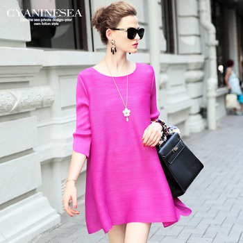 2016 fashion solid color elastic comfortable loose irregular dres fifth sleeve one-piece dress female free shipping