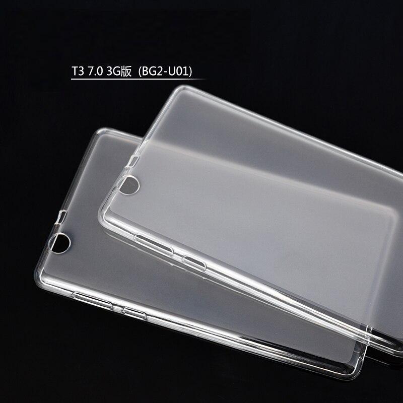 TPU Étui Souple + Film Transparent + Stylo Funda Tablet Transparent Silicone couverture Pour Huawei MediaPad T3 7 3G BG2-U01 (Pas T3 7.0 BG2-W09)