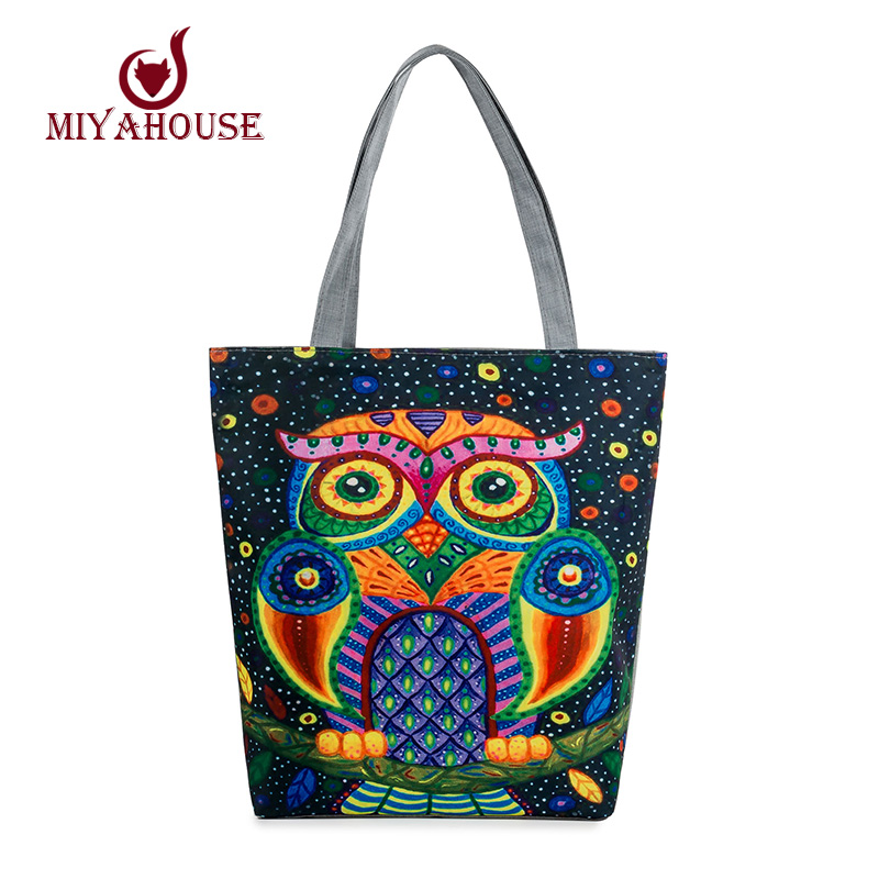 Colorful Owl Printed Canvas Tote Handbags Daily Use Canvas Shopping Bag For Women Beach Bags Female Casual Single Shoulder Bags free shipping casual canvas shopping bags black color with fish pattern shoulder bags shopping bag handbags e08