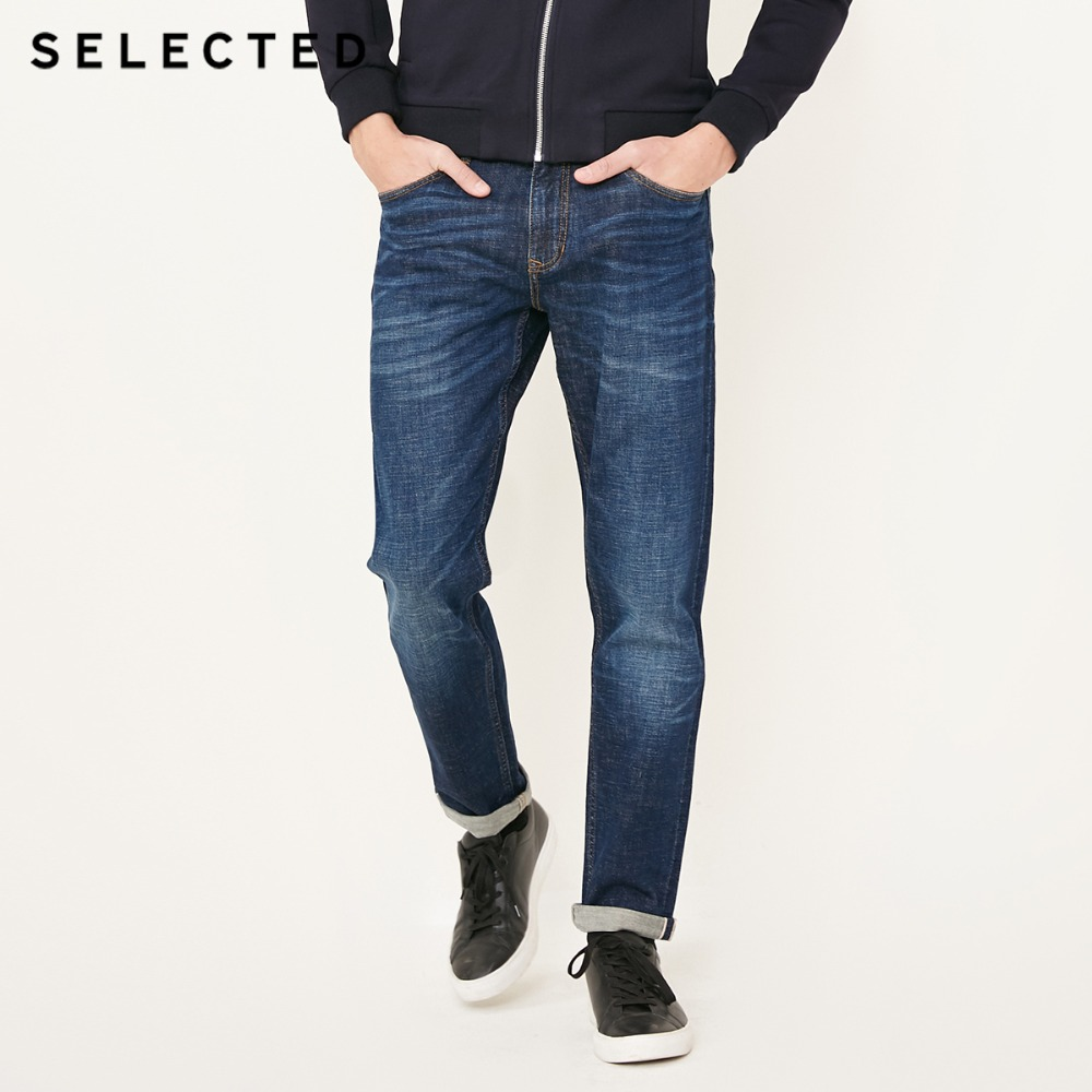 SELECTED Slight stretch cotton-blend faded straight-leg leisure   jean   pantsC|418132522