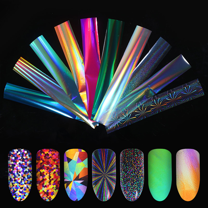 10Pcs Gradient Holographic Nail Foil Transparent AB Color Starry Sky Laser Blue Paper Nail Manicure Transfer Sticker Water Slide ...