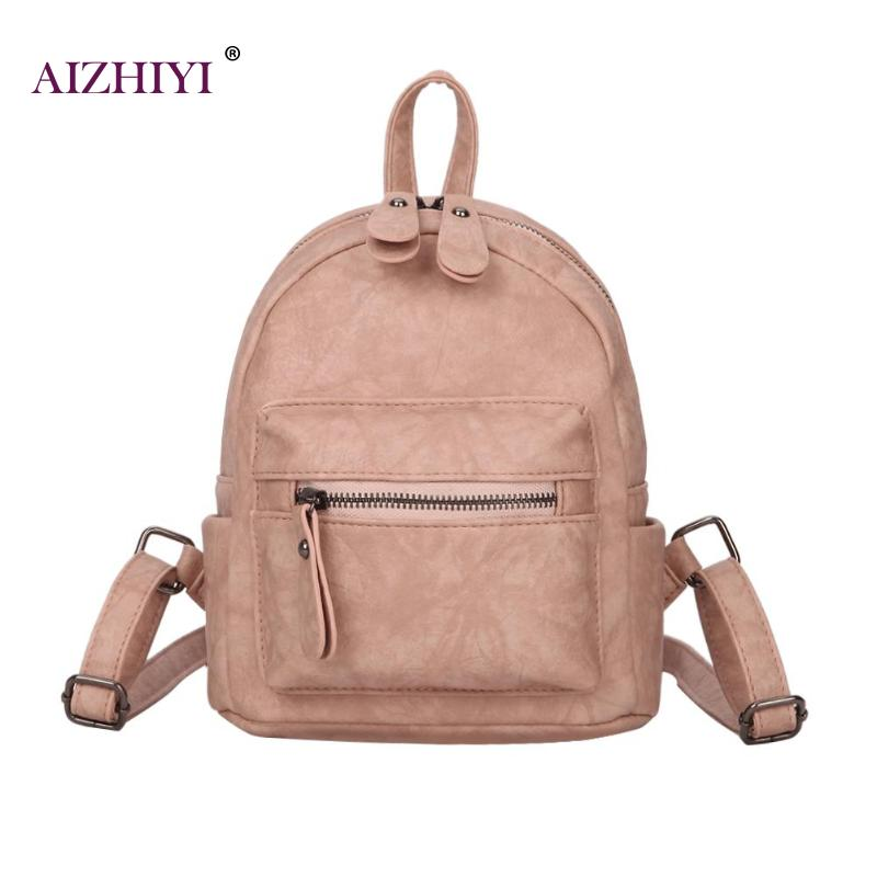 Trendy Girls Preppy Style Mini Backpack Teenage PU Leather Travel Bags Rucksack Women Fashion Solid Backpacks Mochila Feminina
