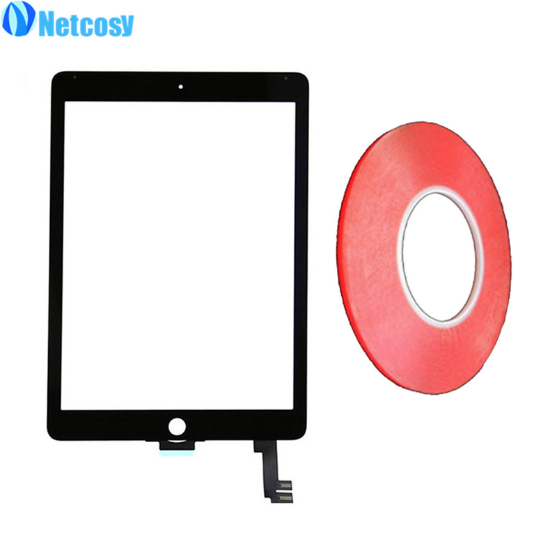 Netcosy For ipad 6 Touch Screen Digitizer Panel Glass For iPad Air 2 A1567 A1566 TouchScreen & 2mm Red adhesive tape netcosy for ipad air touchscreen high quality black