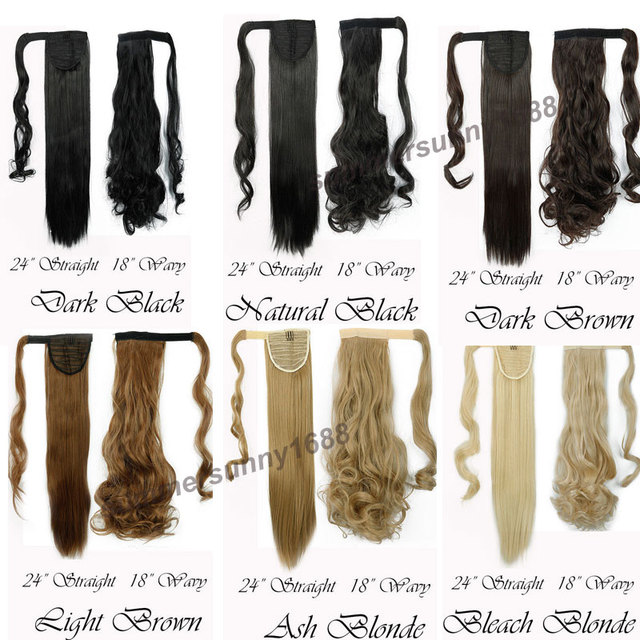 """24"""" Long Straight Synthetic Ponytail Wrap Around Clip In"""