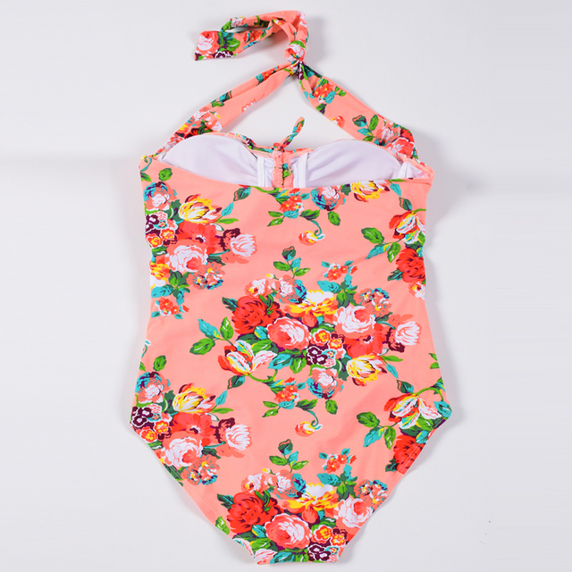 Plus size  women swimsuit one piece swimwear push up print Monokini bathing suit bandeau swimming suit for women Large size 5XL 4