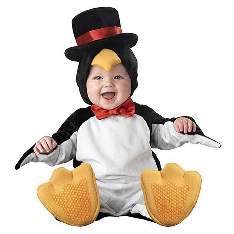 Penguin Baby halloween outfit romper photo props Christmas costume toddler hoodies clothing for babies elegant fascinator headband flower feather wedding tea cocktails party black straw hat
