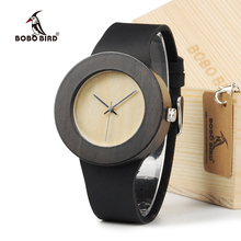 BOBO BIRD Retro Round Women's Wooden Watches With real leather bands top brand d
