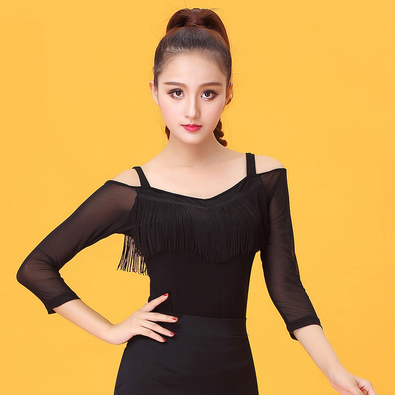 Spaghetti Strap Tassel Gauze Latin Dance Clothes Top For Women/female/girl Dancerwears, Ballroom Costume Performance Wear YE0215