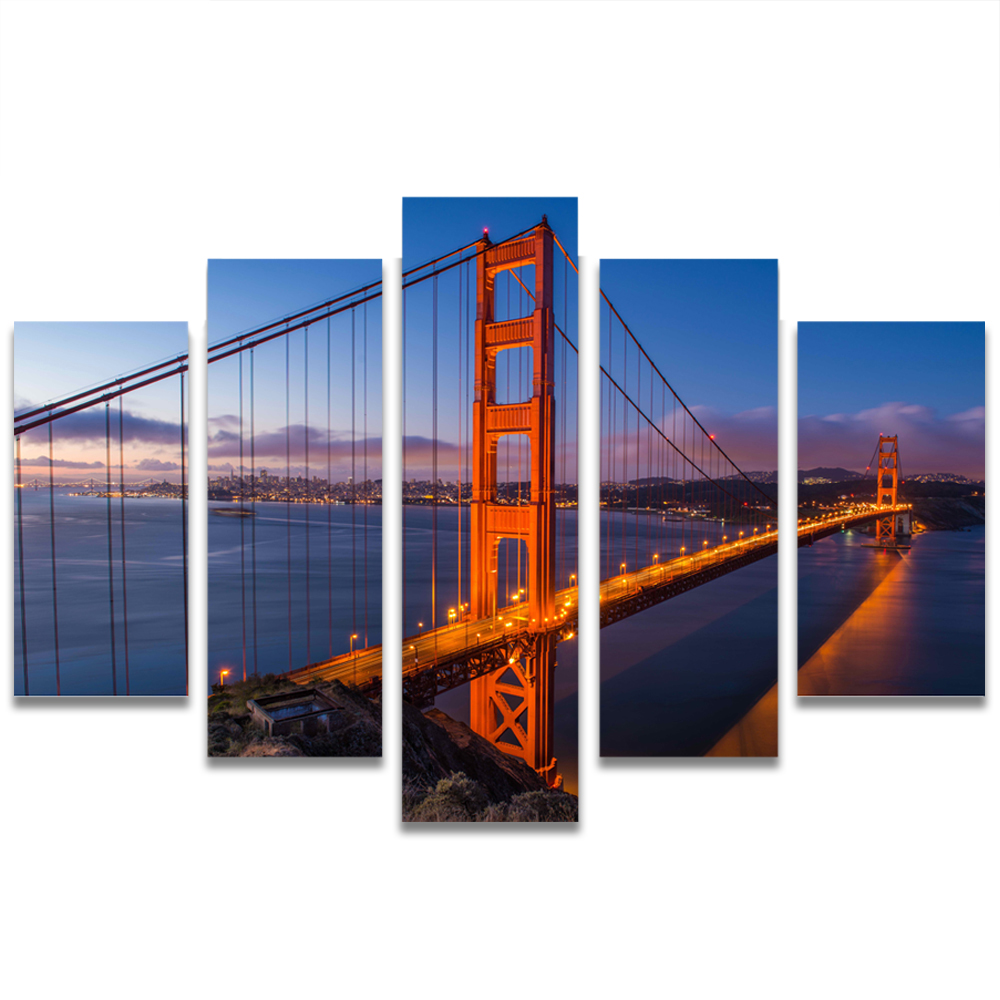 Unframed Canvas Painting Golden Gate Bridge Dusk Photo Picture Prints Wall Picture For Living Room Wall Art Decoration