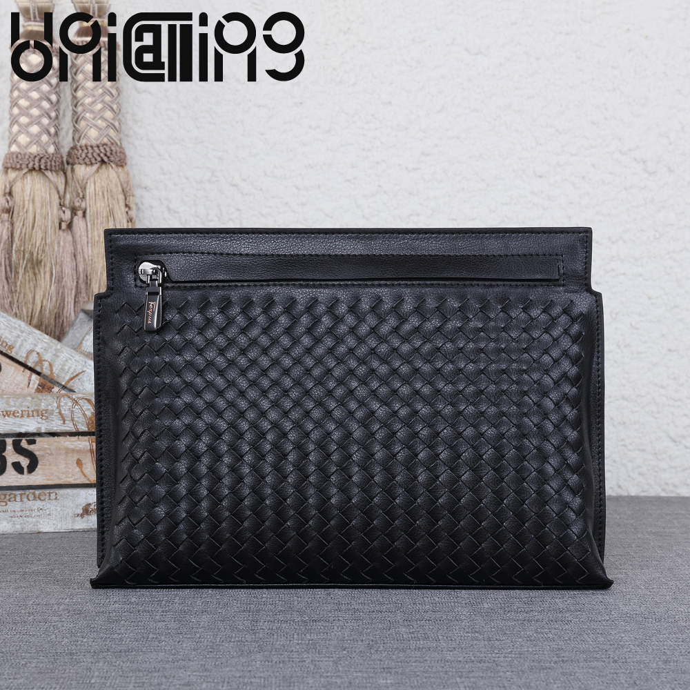 New style Genuine Leather weave Clutch bag Fashion Top grade Large capacity Business zipper men bag Soft cow leather handbagsNew style Genuine Leather weave Clutch bag Fashion Top grade Large capacity Business zipper men bag Soft cow leather handbags