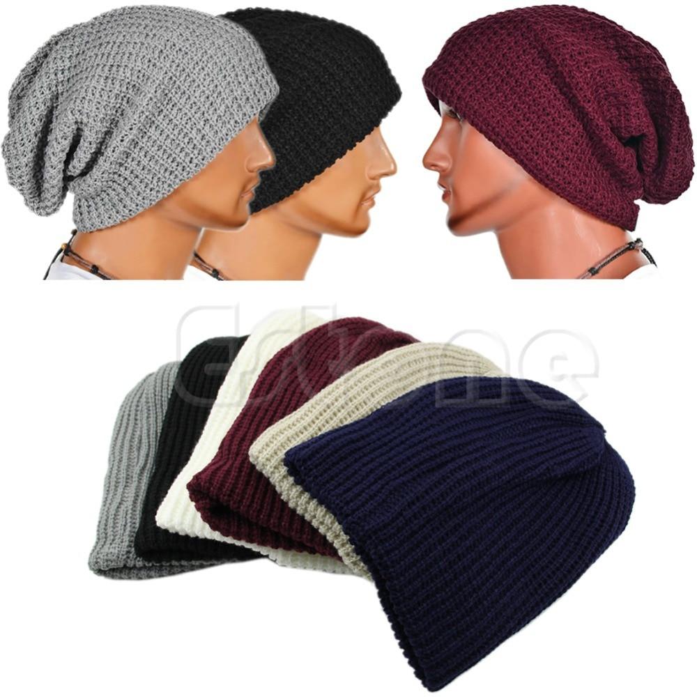 141b3639b39 Cool Male Vertical Lattice Slouchy Oversize Cap Men Winter Knit Beanie Skull  Warm Hat Unisex-in Skullies   Beanies from Apparel Accessories on ...