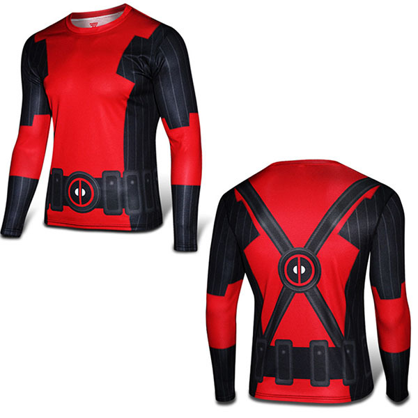 Super Slim Deadpool Long Sleeve Comic Shirt 3D Breathable Marvel Tees Cold  Cycle Riding Superhero Fitness Jogger Slim Sweatshirt 1684ed4d9