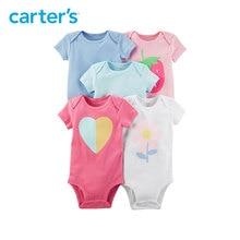 5pcs heart flower strawberry prints Short Sleeve Cotton Bodysuits clothing sets Carter s baby Girl Summer