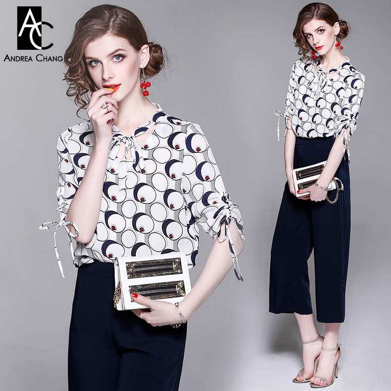 spring summer woman clothing set half sleeve circle cylinder pattern print white shirt + calf length dark blue pants suit set ombre circle calf length socks