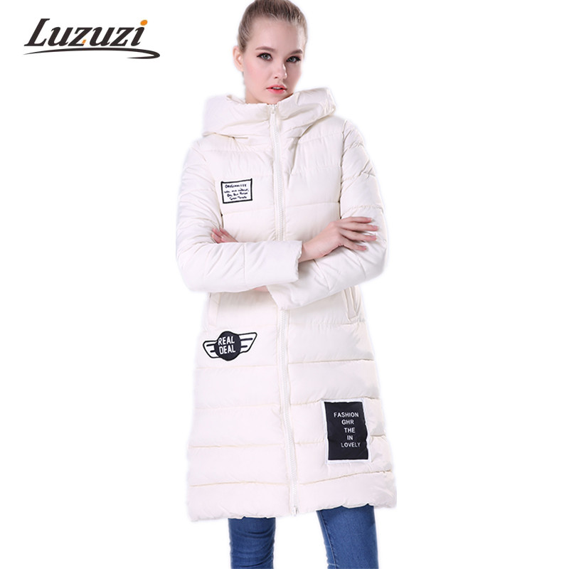Women s Winter Jacket and Coat Cotton Padded 2017 Warm Long Slim Parka Hooded Female Plus