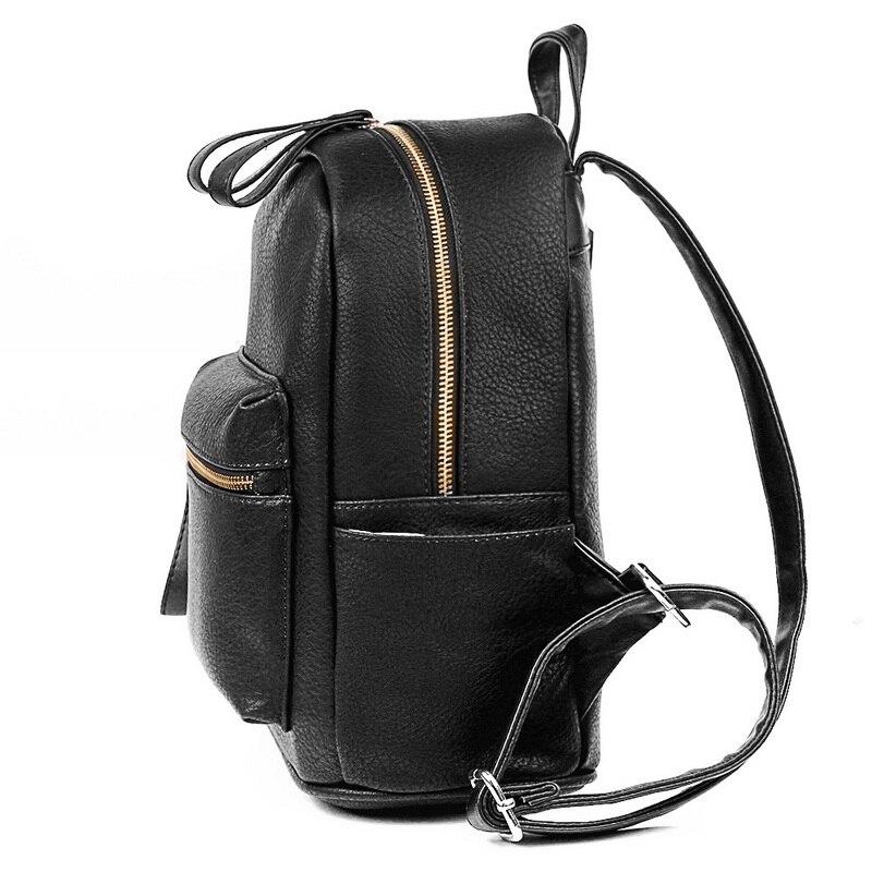 9252557161b3 US $38.45 |2018 Women Backpack Genius Leather Children Backpack Mini  Backpack Women's Cute Backpacks Teenage Girls Black Travel Rucksack-in  Backpacks ...