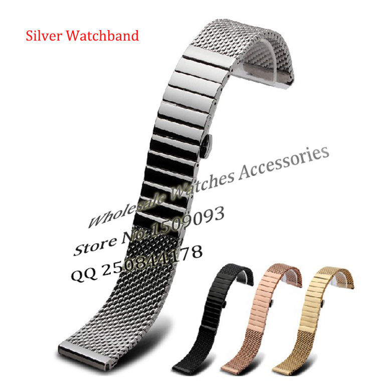 20mm 22mm 24mm Silver watchband straps Mens Watch Strap SHARK MESH CHAINMAIL Stainless Steel Band Bracelet steel deployment