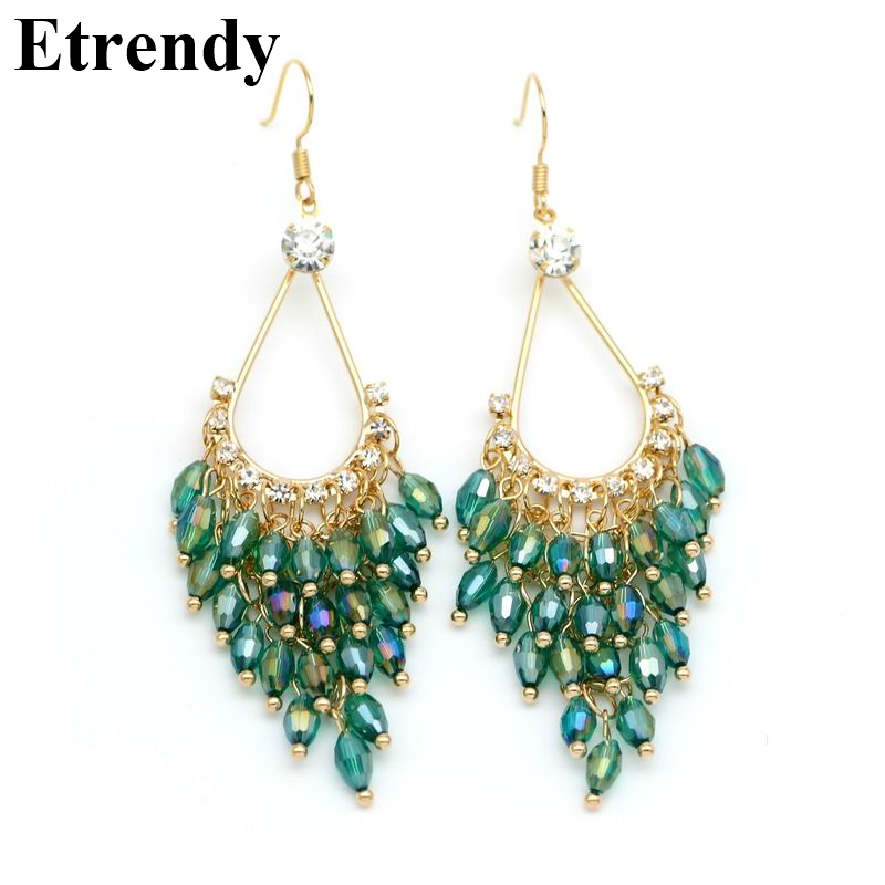 New Statement Crystal Beads Long Earrings For Women Bijoux Elegant Ethnic Jewelry Party Brincos Green Black Pink White all match