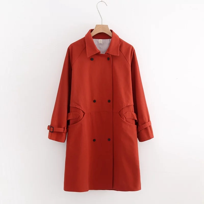 Women Double Breasted Longline Coat With Pocket detail Casual Orange   Trench