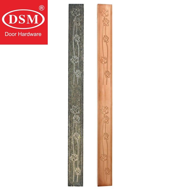 1200mm Modern golden stainless steel lotus pattern entrance door handle for glass wooden metal frame doors PA-641