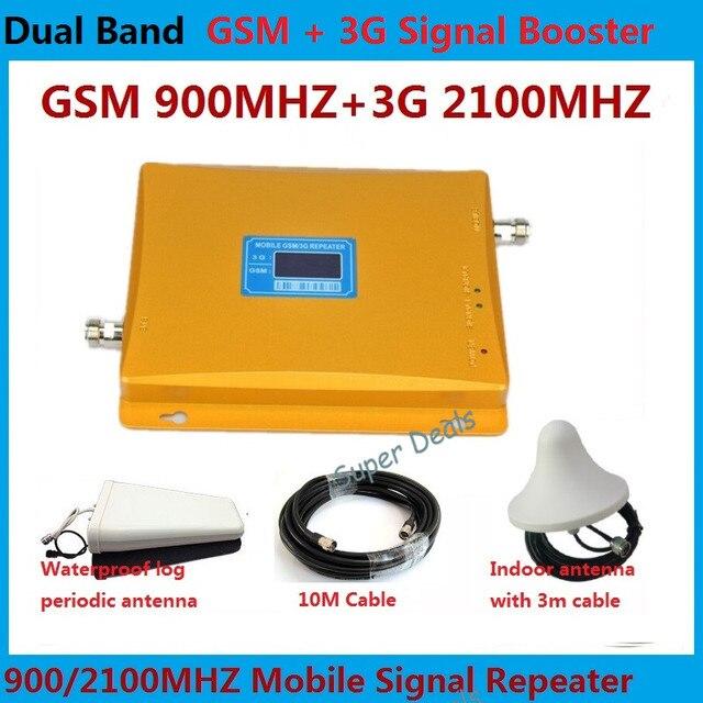 Dual Band GSM 3 Г Ретранслятор GSM 900 МГц 2100 МГц W-CDMA UMTS 3 Г Антенна Усилитель Сигнала Repetidor 2 Г 3 Г Мобильный Телефон Booster наборы