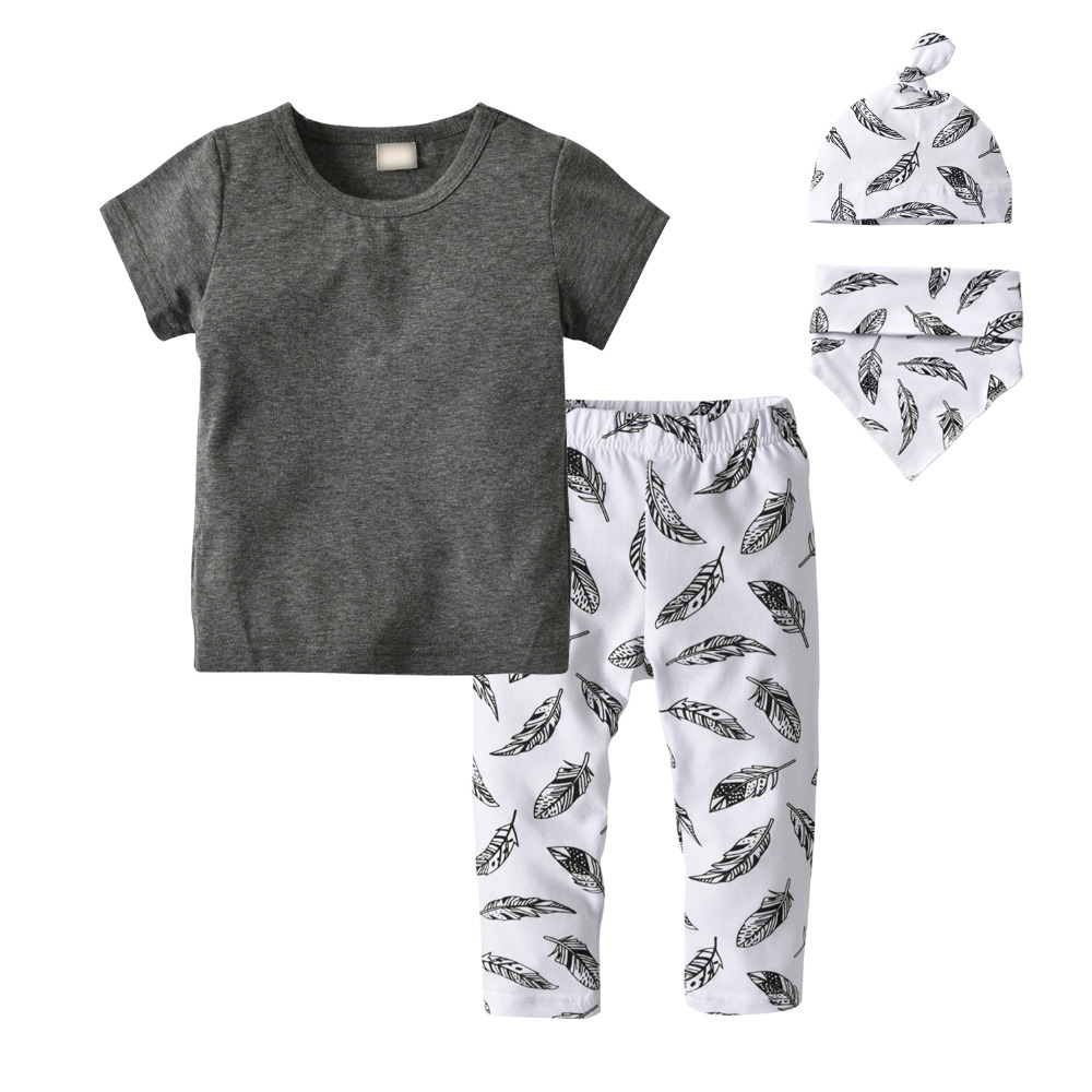 Newborn Pajama Outfits Set Infant Print Tops T-shirt Pants Baby Boys Girls Hat