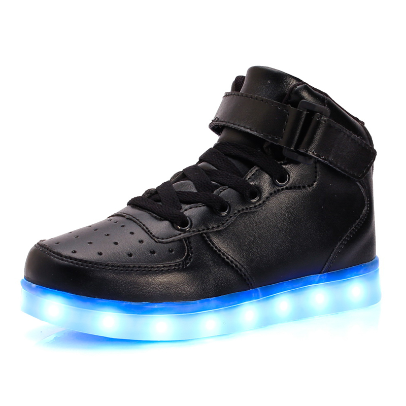 Fashion USB Charge Red kids Casual Luminous sneakers for children LED Light Up Shoes Gold High Top girls and boys luces dorado