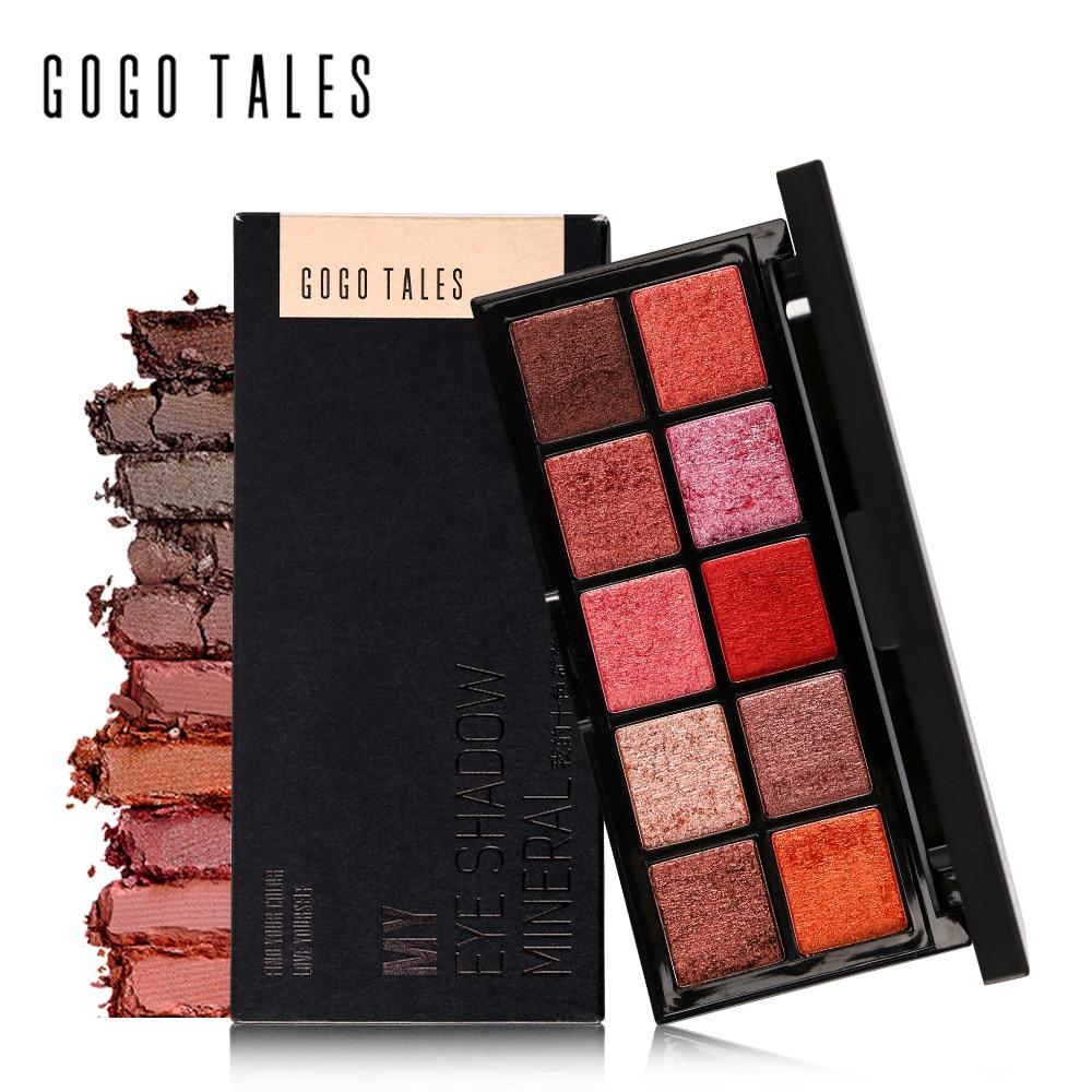 GOGO TALES איפור מקצועי 10 צבעים חמימים Mat Eyesadow Palette Nautral Mineral Eye Eye צללית כדור הארץ Makquiagem