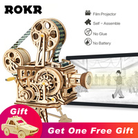 ROKR Vitascope 3D Wooden Puzzle Handheld Classic Film Projector With Chaplin's Modern Time Model Toys for Children Adult LK601