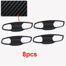 4pcs for SKODA KODIAQ outside Door handle bowl Decoration cover Carbon fiber pattern Stainless steel