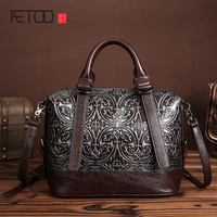 New Leather Embossed Leather Handbag Brush Color Retro Elegant Handbag Leather Shoulder Bag Messenger Bag