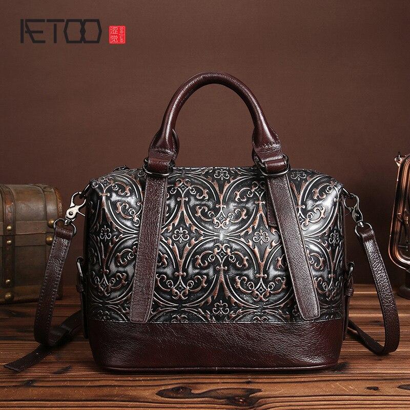 Aetoo новый кожа с тиснением натуральная кожа сумки цвет кисти ретро элегантная сумочка кожаная сумка