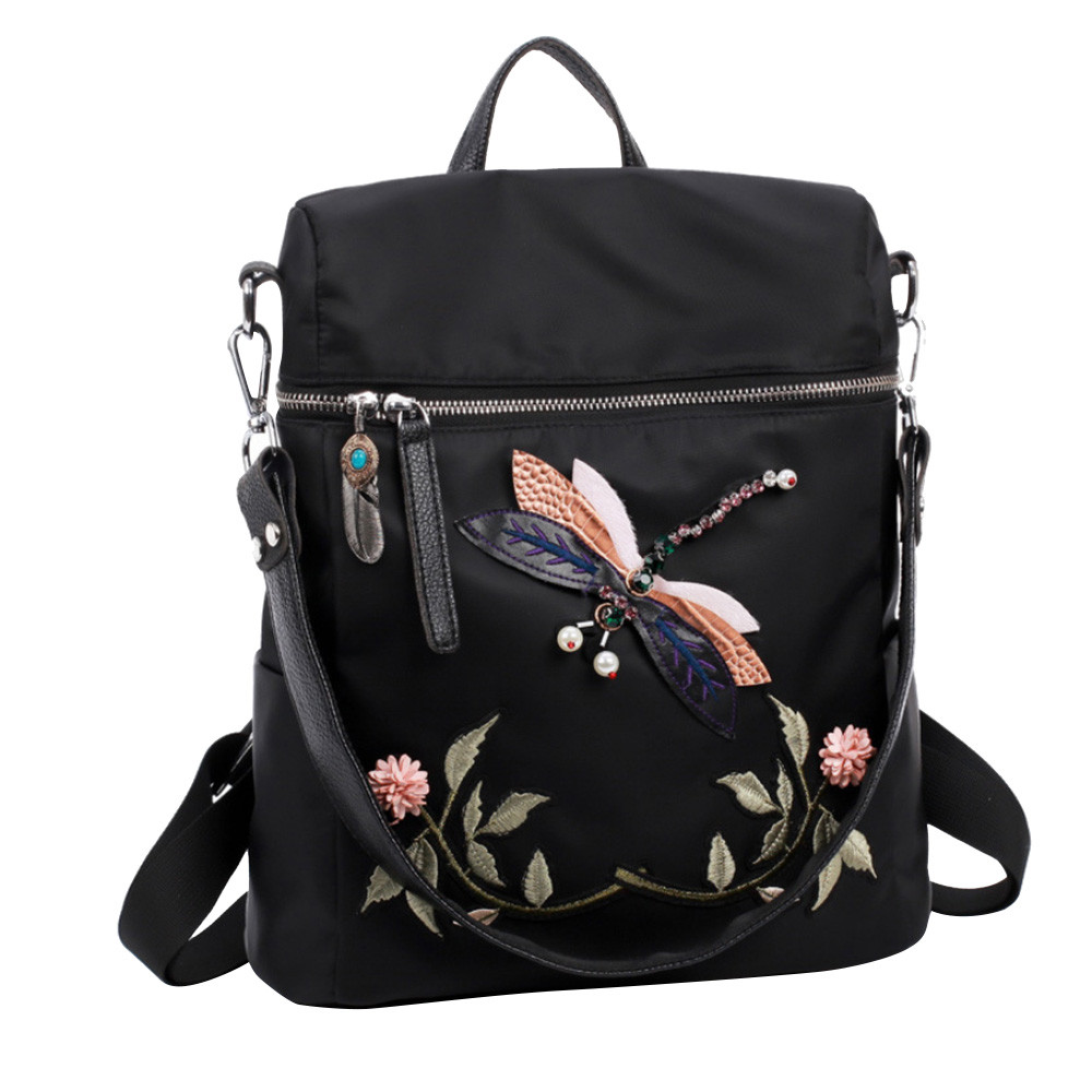 Preppy Style Nylon Dragonfly Embroidery Practical Functional Travel Female Backpack School Backpack For Teenage