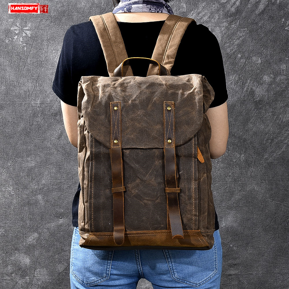 Men Backpacks Oil Wax Canvas Men shoulder bag Retro Distressed Backpack Waterproof Travel Men's Computer 15 inch laptop Bag