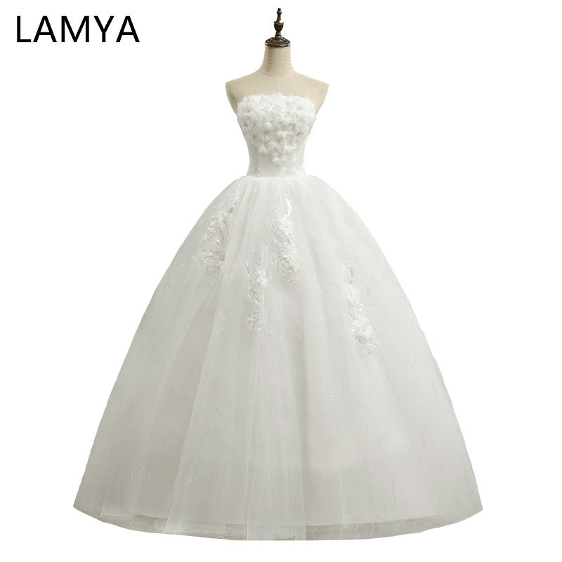 Cheap Plus Size Ball Gown Wedding Dresses: LAMYA Real Photo Princess Full Flower Wedding Dresses 2019