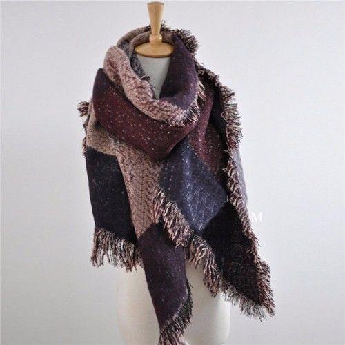Meihuida модные большие шарфы женские длинные кашемировые зимние полушерстяные мягкий теплый клетчатый шарф шаль клетчатый шарф - Цвет: Бордовый